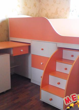 Кровать детская с выдвижным столом, ящиками и выдвижной лестницей