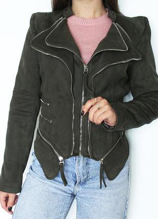 Косуха куртка на замке под замшу