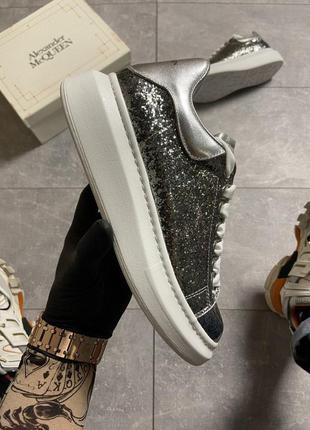 "Кроссовки женские alexander mcqueen silver ""leather trimmed gl..."