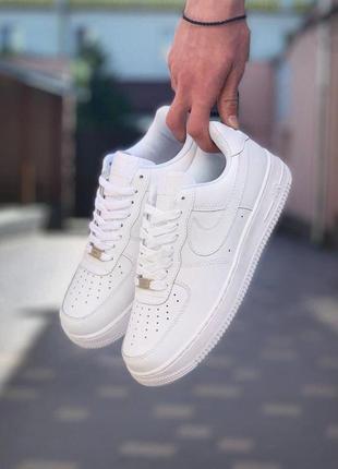 Nike air force 1 white ✰ женские кожаные кроссовки ✰ белого цв...
