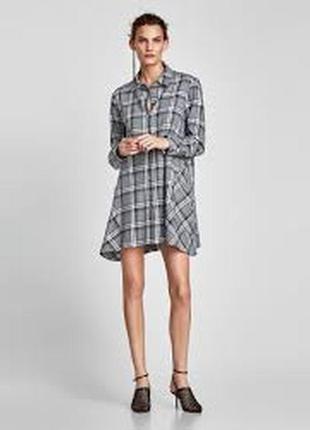 Платье рубашка в клетку zara