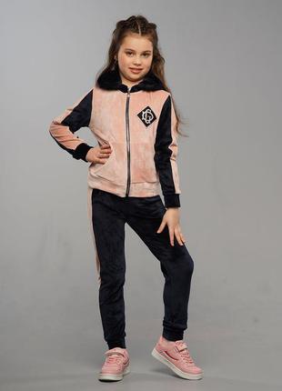 Модный качественный велюровый спортивный костюм с аппликацией