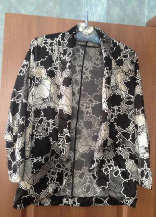 Черный пиджак жакет  в цветочный принт atmosphere р.10 м