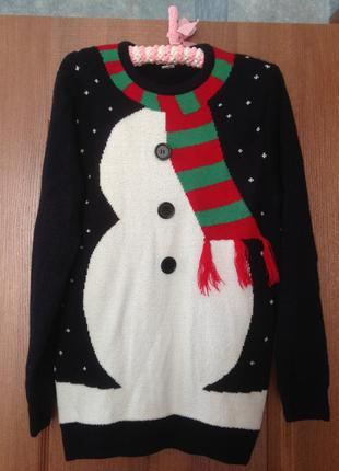 Новогодний рождественский свитер со снеговиком от f&f xs. хит ...