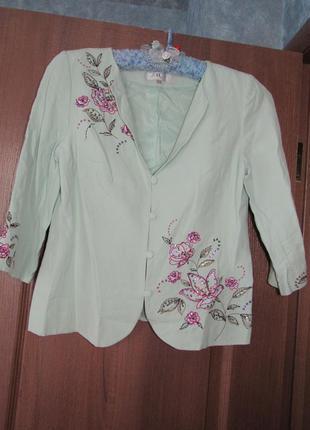 Роскошный пиджак жакет от countrycasuals из натурального шелка...