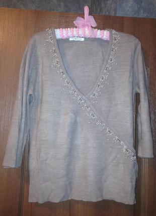 Бежевый полувер джемпер свитер расшитый  бусинами george р.14 xl