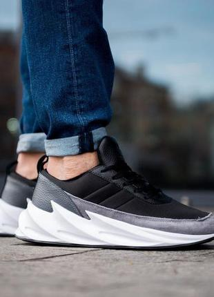 Adidas sharks black grey белые с серым мужские кроссовки налож...