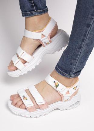 Skechers d'lites sandal white женские стильные босоножки