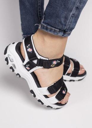 Skechers d'lites sandal black женские стильные босоножки