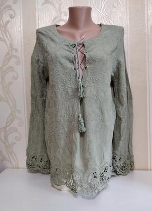 Новая блуза блузка рубашка бохо жатка с вышивкой, ambika
