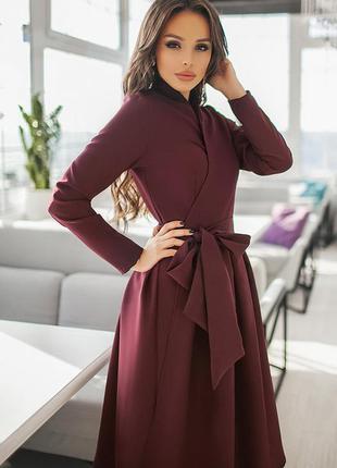 Платье бордовое  длинный рукав и с пышной юбкой демисезонное с...