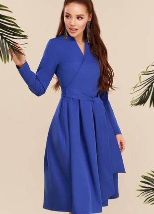 Платье синее длинный рукав и с пышной юбкой демисезонное с поя...