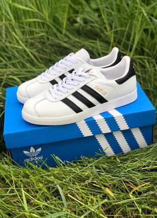 Adidas gazelle white мужские стильные кроссовки