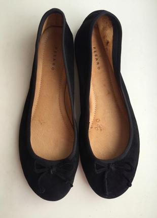 Кожаные балетки pesaro р.39, замшевые туфли
