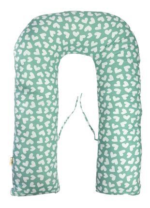 Подушка для беременных Guli-Guli сердца мятно-белая 35*120см