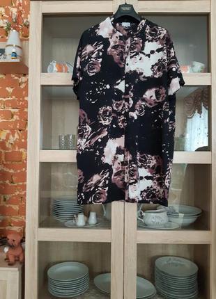 Стильное платье рубашка туника большого размера