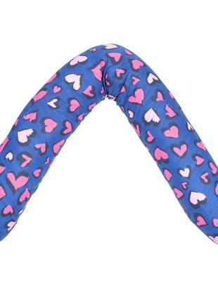 Подушка для беременных Guli-Guli Сердца, фиолетовая 30х160 см