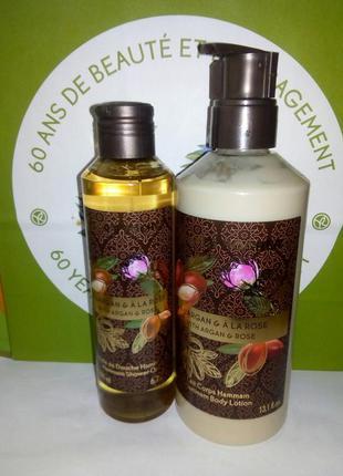 Набор для тела аргания - роза: масло для душа + молочко для те...