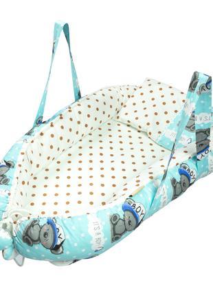 Кокон-позиционер Guli-Guli голубый в белый горошек 35*120см
