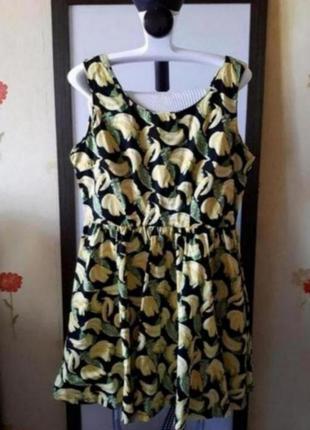 Платье миди, принт бананы