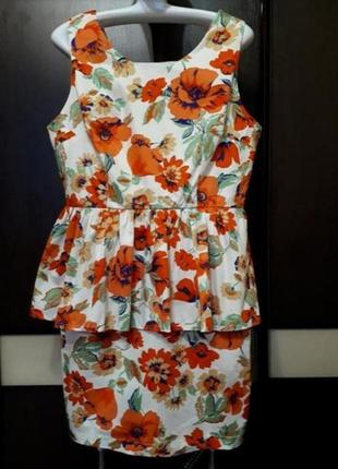Платье миди в цветочный принт