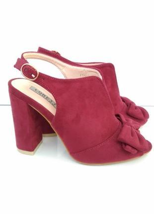 Бордовые босоножки на каблуке, бордові босоніжки 36р-23 см