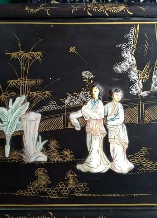 Изумительная картина Кость Перламутр(Китай 1950е)