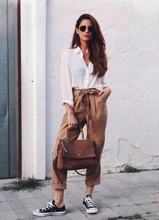 🌿 шикарные, коричневые брюки со льном от marks & spencer