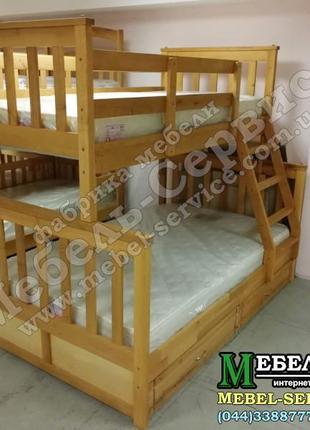 Двухъярусная кровать Олигарх Эко Ольха, трехместная, трансформер