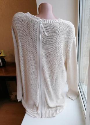 Бежевый вязаный свитер удлиненная спинка на молнии оверсайз ov...