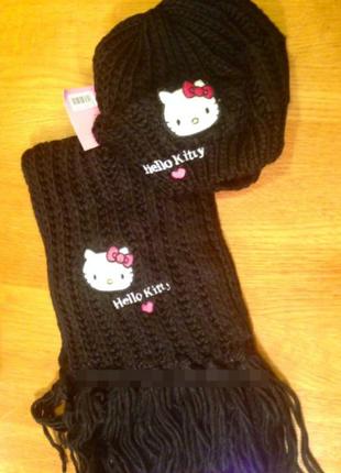 Комплект вязаная шапка и шарфик hello kitty 6-16лет в наличии