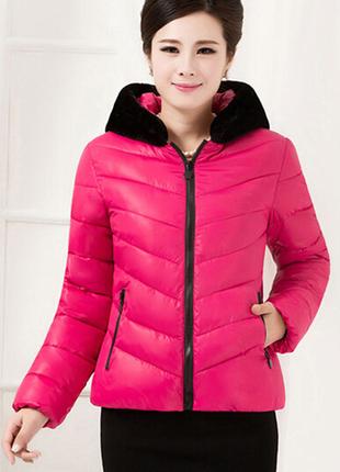 Куртка пуховик парка розовый пух. весна-осень в наличии