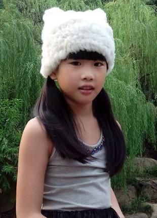 Вязаная шапочка из натурального меха кролика в наличии, пример...