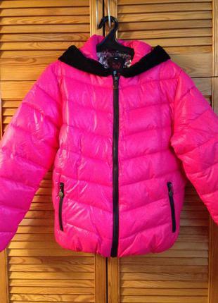 Куртка пуховик парка розовый пух р.m-l-xl