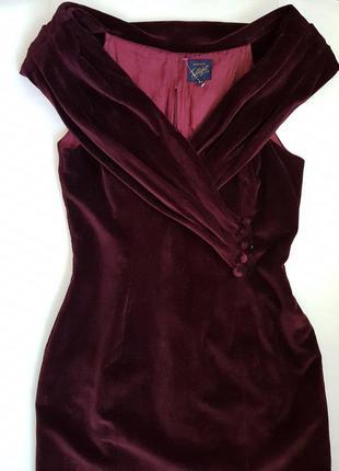 Вечернее бархатное платье футляр бордовое макси велюр платье о...