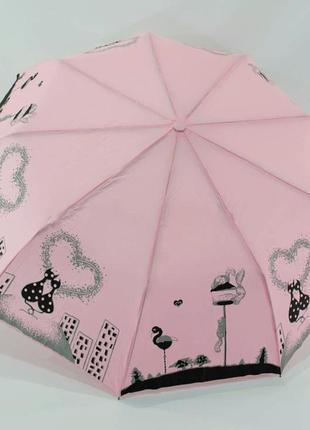 Зонт-полуавтомат нежной расцветки с котами