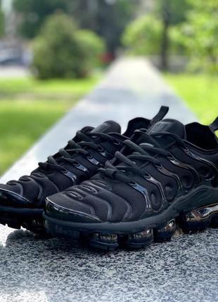 👟 кроссовки nike  air vapormax plus tn all black /  наложенный...
