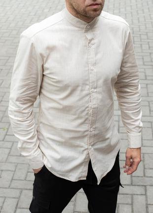 👕 мужская стильная рубашка льняная, воротник стойка (артикул: ...