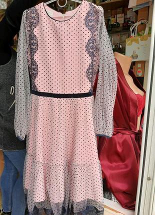 Платье нарядное пудра горох