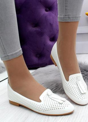 Новые шикарные женские белые туфли лоферы