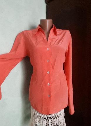 Шелковая блуза кораллового цвета