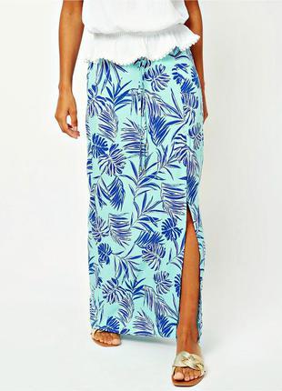 Летняя бирюзовая юбка макси с разрезом из качественной вискозы...