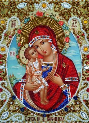 Икона Божией Матери Жировицкая вышитая бисером