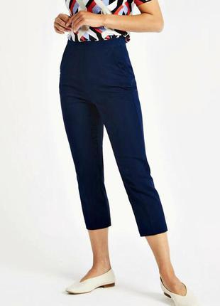 Высокие темно-синие брюки слаксы с карманами из хлопка р.18
