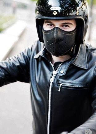 Кожаная мото-маска