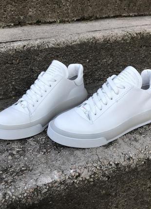 Белые кожаные кеды, белые кроссовки из натуральной кожи