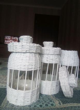 Плетеные баночки для круп