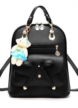 Стильный женский городской рюкзак teddy тедди с брелоком мишко...