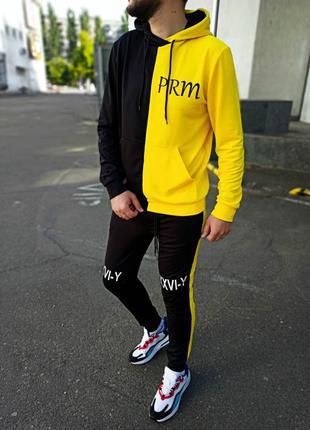 Спортивный костюм мужской желто-чёрный крутой спортивный костюм