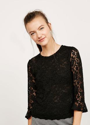 Sale кружевная гипюровая блуза с рюшами воланами zara bershka ...